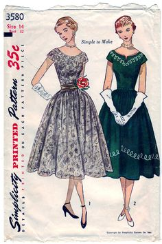 Vintage 1948 Simplicity 2683    A wide boat neckline and short kimono sleeves fashion the bodice. The full gathered skirt is four gored. View