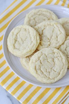 Chewy Lemon Sugar Cookies - These sweet and chewy cookies have a subtle lemon flavor, and just the perfect amount of crisp on the outside.