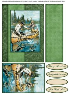 Fishermen Quick Card on Craftsuprint designed by Debra Laraway - Quick card with a vintage watercolor style image of fishermen in a canoe. You get a couple layers for some dimension, but the card still fits in a regular envelope. Sentiment tags include Happy Birthday, Congratulations, Get Well Soon, and a blank tag. - Now available for download!