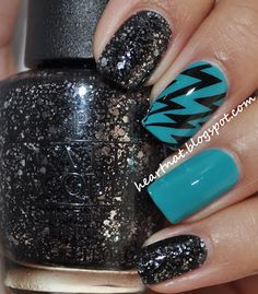 Short post today, but no worries because I have a very eye catching mani to show you! I used OPI Fly and stamped using BM 305 in Konad Black. The glitter is OPI Metallic 4 Life. Teal Nails, Love Nails, How To Do Nails, Fun Nails, Edgy Nails, Glittery Nails, Shiny Nails, Black Nails, Nail Polish Style