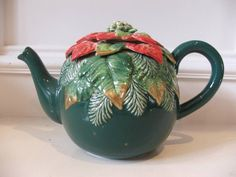 Fitz Floyd Christmas Holly Teapot Green w Red Gold Accents Tiny Chips x 3 | eBay