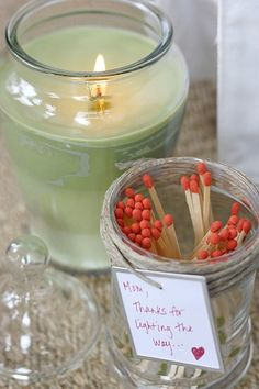 jar of matches with lighting strip on bottom of jar - great idea for teachers or moms to go with a candle or two ...