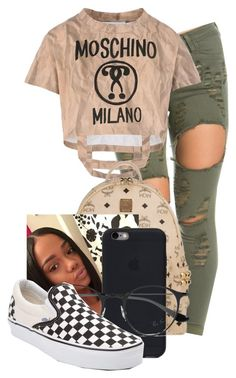 """""""Untitled #314"""" by kyraarlene ❤ liked on Polyvore featuring Moschino, MCM, Ray-Ban and Vans"""