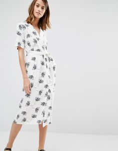Image 1 of Warehouse Stencil Floral Wrap Midi Dress