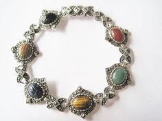 Gemstone Scarab Marcasite Bracelet Sterling by BejeweledEmporium