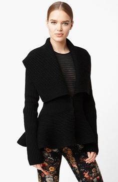 Alexander McQueen Rib Knit Peplum Cardigan available at #Nordstrom