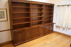 A 3 metre long Burr walnut deep cupboard open bookcase.