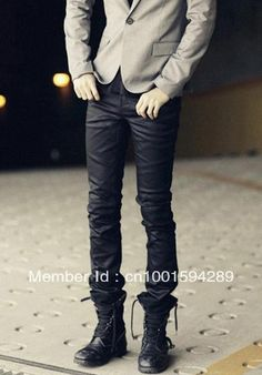 free shipping Male casual straight pants slim resemble leather pants british style trousers long pants-in Pants from Apparel & Accessories on Aliexpress.com $30