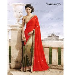 Saree :: Orange & Olive Shaded Saree with Blouse