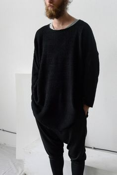 oversized minimal Black Pullover