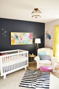 Eliza's Eclectic Glam Nursery / Bedroom - mono - white floor - colour (pink, blue, yellow)   - rug - pattern - light - art