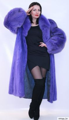 Totally awesome dyed blue mink & fox fur coat