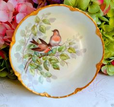 Beautiful Vintage Haviland Limoges Hand Painted Porcelain Bowl ~ Signed ~ Gold