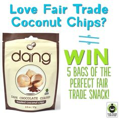 Want to be one of the FIRST to try @dangfoods BRAND NEW #FairTrade #Chocolate Coated #Coconut Chips? Feeling lucky? Enter to #WIN 5 bags here: http://fairtrd.us/1wVDiZ6 #giveaway