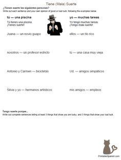 Tiene (Mala) Suerte FREE tener practice worksheet from PrintableSpanish.com