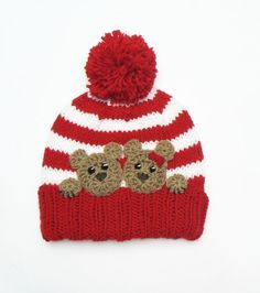 Teddy Bear Applique Crochet Bear Hat Applique Animal Motif Sewn on Applique Kids Clothing Craft supplies Handmade Applique Brown Bear Divaari Crochet Bear Hat, Crochet Dolls, Crochet Clothes, Knitted Hats, Crochet Outfits, Kids Winter Hats, Kids Hats, Kids Christmas Outfits, Winter Outfits