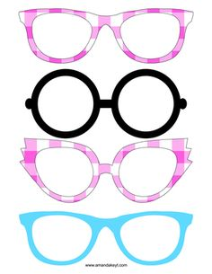 Glasses from Pizza Party Pink Printable Photo Booth Set