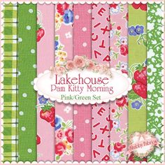 Pam Kitty Morning  9 Pink/Green FQ Set by Pam Vieira-McGinnis for Lakehouse Dry Goods: Pam Kitty Morning is a colorful collection by Pam Vieira-McGinnis for Lakehouse Dry Goods.  100% cotton.  This set contains 9 fat quarters, each measuring approximately 18 x 21.