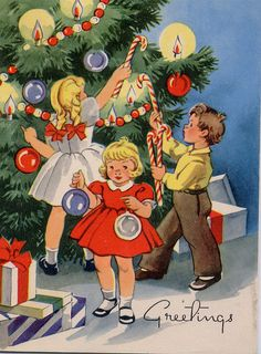 Vintage - Greeting Card - Decorating the Christmas Tree  with Christmas Decorations