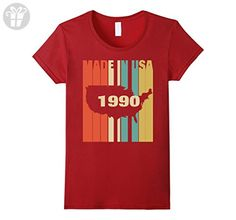 Womens Vintage Retro Birthday T-shirt For Men/Women Born In 1990 XL Cranberry - Birthday shirts (*Amazon Partner-Link)