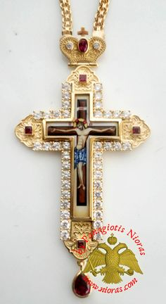Orthodox Christ Pectoral Cross Brass Gold Plated with Semi Precious Stones - 435 Cross Hands, Cross Necklaces, Byzantine Art, Religious Cross, Orthodox Christianity, Art Store, String Art, Crosses, Vintage Jewelry