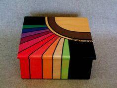 Pintado caja para recuerdos y joyería diseño Resumen del arco