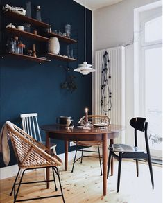 my scandinavian home: A kitchen with deep blue wall and mid-century touches. #bluewall #kitchen #century #ph5