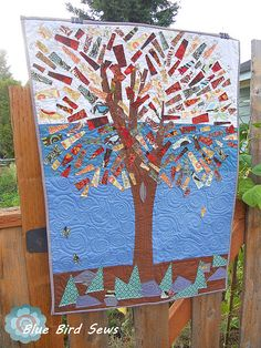 Wildly beautiful mosaic quilt featured on Blue Bird Sews