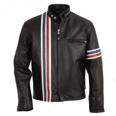 Fashion Vertical Strips Leather Jacket