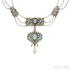 Arts and Crafts Gold Gem-set Necklace, Arthur and Georgie Gaskin, c. 1909, the central pendant with bezel-set opals framed by old mine-cut diamonds, pink tourmalines, seed pearls, and green glass in a foliate motif, suspended from three strands of delicate trace link chain joined to larger gem-set links, reverse with floral decoration, unsigned, lg. 16 1/2 in.