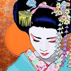 Andy Fluon y la fluorescencia pop Japanese Drawings, Japanese Prints, Japanese Art, Geisha Drawing, Geisha Art, Oriental, 60s Art, Detailed Paintings, Cute Disney Wallpaper
