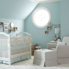 Blue and gray baby nursery. Love the gray banner with white stars and the gray chevron lampshade.