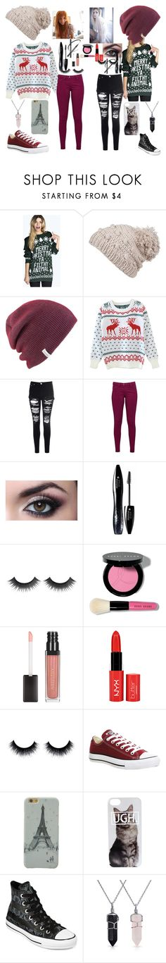 """""""Elsa and Anna's ugly sweater party!"""" by cupcakemabel ❤ liked on Polyvore featuring Boohoo, prAna, Coal, Glamorous, Great Plains, Lancôme, Bobbi Brown Cosmetics, Converse, Bling Jewelry and women's clothing"""
