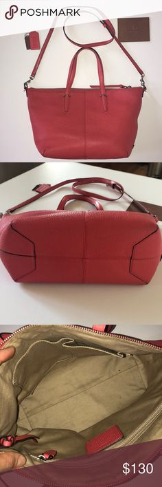 Coach handbag, poppy pebbled leather, gently used Add a pop of color to you spring and summer outfits!  Gently used with minimal signs of wear.  Have not preserved the dust bag - will ship with a replacement dust bag from Cuyana Coach Bags Satchels