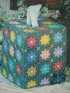 ''DAISY TISSUE BOX COVER'' ~*~PLASTIC  CANVAS PATTERN~*~  #Plasticcanvas