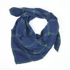 Dark blue and green grid square scarf for casual fall outfits