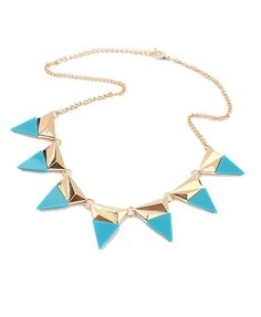 Blue Metal Necklace with Triangle Spikes