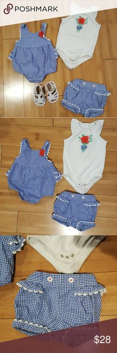 GYMBOREE Gazebo Party gingham summer 6-12 baby I only wish I bought every size in the line. It's the cutest I've ever seen!!!  Size 6-12 And white sandals are a 3 I believe. (Not gymboree). In wonderful condition. The shirt does loom like it has a small discoloration on the front. But it's hardly noticeable at all.. as you can see from the photos. Gymboree Matching Sets