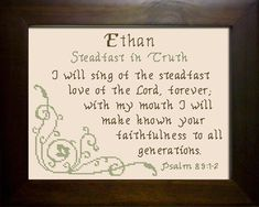 Cross Stitch Ethan with a name meaning and a Bible verse