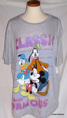 2157d0ab8e8 Plus Size 2X Disney T Shirt Mickey Goofy Donald CLASSIC FAMOUS Gray NWT   Disney
