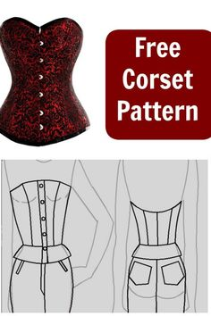 Free Corset Pattern European size 38 (US size no boning, a simple base to build on a real corset and easy enough to resize. Corset Sewing Pattern, Bra Pattern, Dress Sewing Patterns, Sewing Patterns Free, Free Sewing, Clothing Patterns, Medieval Dress Pattern, Pants Pattern, Sewing Bras