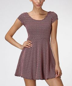 This Diosa Peach & Black Dot A-Line Dress by Diosa is perfect! #zulilyfinds