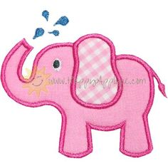 Splashing Elephant Applique Design