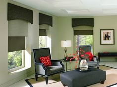 Woven Wood Shades from Budget Blinds come in a wide variety of beautiful styles. Schedule a free in-home consultation to see our full line of Woven Wood Shades. Decor, Interior, Contemporary Windows, Window Styles, Budget Blinds, Home Decor, Contemporary Window Treatments, Woven Wood Shades, Window Treatments