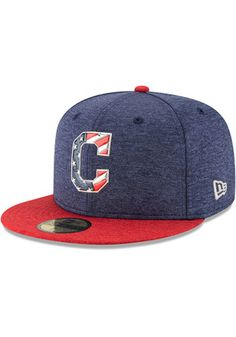 66d608939d7 Cleveland Indians New Era Mens Navy Blue 2017 4th of July AC 59FIFTY Fitted  Hat Cleveland