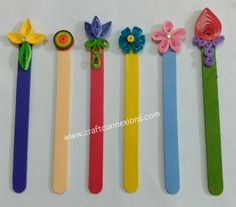 recycling craft... popsicle sticks bookmarks using quilling techniques tutorial