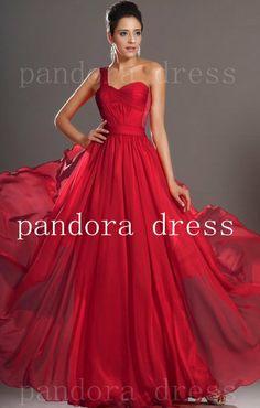 red chiffon dress