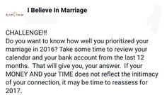 Let's take the challenge!  Remember for daily inspiration follow our new Instagram: @ibelieve_inmarriage #Marriagemondays #Ibelieveinmarriage #Robinmayonline #IStillDo  #ChristianCouples #Marriagematters  #marriagematerial #whenbffisbae