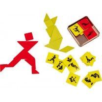 Holzpuzzle Tangram für 2 Bei diesem Legespiel für zwei Spieler sind Logik und räumliches Denken, vor allem aber auch Schnelligkeit gefragt. Auf 20 Plättchen sind zehn Motive zum Nachlegen vorgegeben - nun soll jeder Spieler versuchen, die Formen mit den Legeplättchen (Rot & Grün) zu kopieren! Die Lösungen sind auf der Rückseite der Motivplättchen zu sehen. Gewonnen hat, wer als Erster fertig ist und alles richtig gelegt hat. ca. 10 x 10 x 2,5 cm