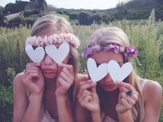 Be silly with friends...enjoy the moment. Flower headbands~ I want to go hiking and make one! :0)~